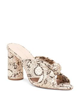 Loeffler Randall - Women's Coco Snakeskin-Embossed Leather Round Block-Heel Mules