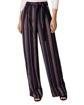Satin Striped Wide Leg Pants by Karen Millen