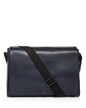 Armani - Vitello Bottalato Coated Leather Messenger Bag