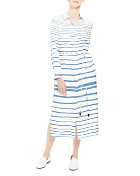 Theory - Striped-Silk Shirt Dress
