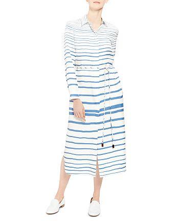 Theory - Striped-Silk Shirt Dress