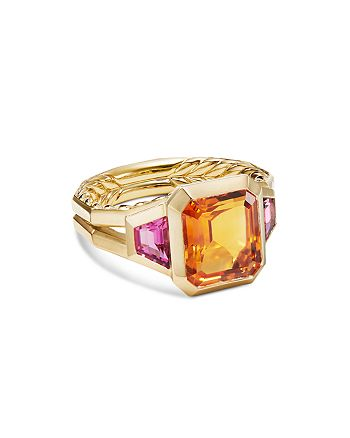 David Yurman - 18K Yellow Gold Novella Three-Stone Ring with Madeira Citrine & Rubellite