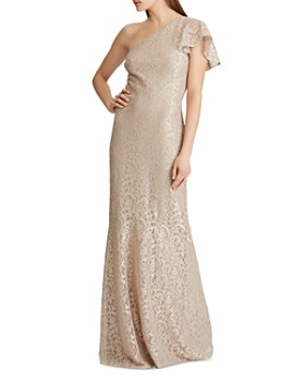 Ralph Lauren - One-Shoulder Lace Gown