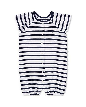 Ralph Lauren - Girls' Striped & Smocked Shortall - Baby