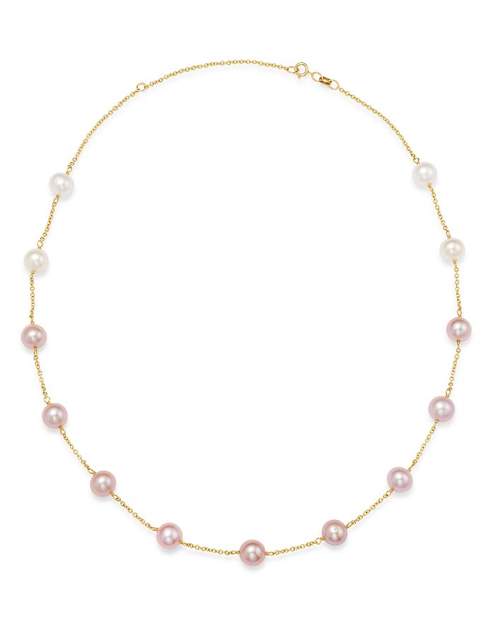"""Bloomingdale's - Freshwater Cultured Pearl Gradient Station Necklace in 14K Yellow Gold, 18"""" - 100% Exclusive"""