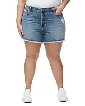 Good American - Bombshell Cutoff Denim Shorts in Blue276