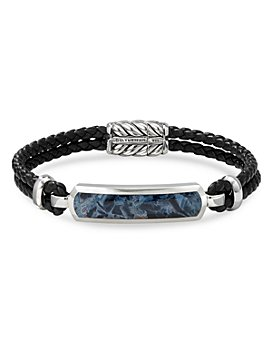 David Yurman - Sterling Silver & Leather Exotic Stone Bar Station Bracelet with Pietersite