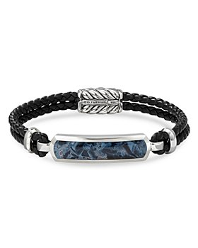 David Yurman - Sterling Silver & Leather Exotic Stone Bar Station Bracelet with Pietersite