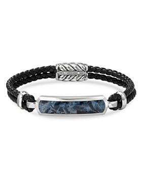David Yurman - Sterling Silver & Leather Exotic Stone Bar Station Bracelet