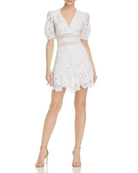 Saylor - Floral Lace V-Neck Mini Dress