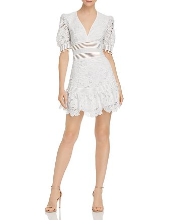 Saylor - Floral Lace V-Neck Mini Dress