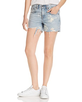 rag & bone/JEAN -  Dre High-Rise Distressed Denim Shorts in Olson