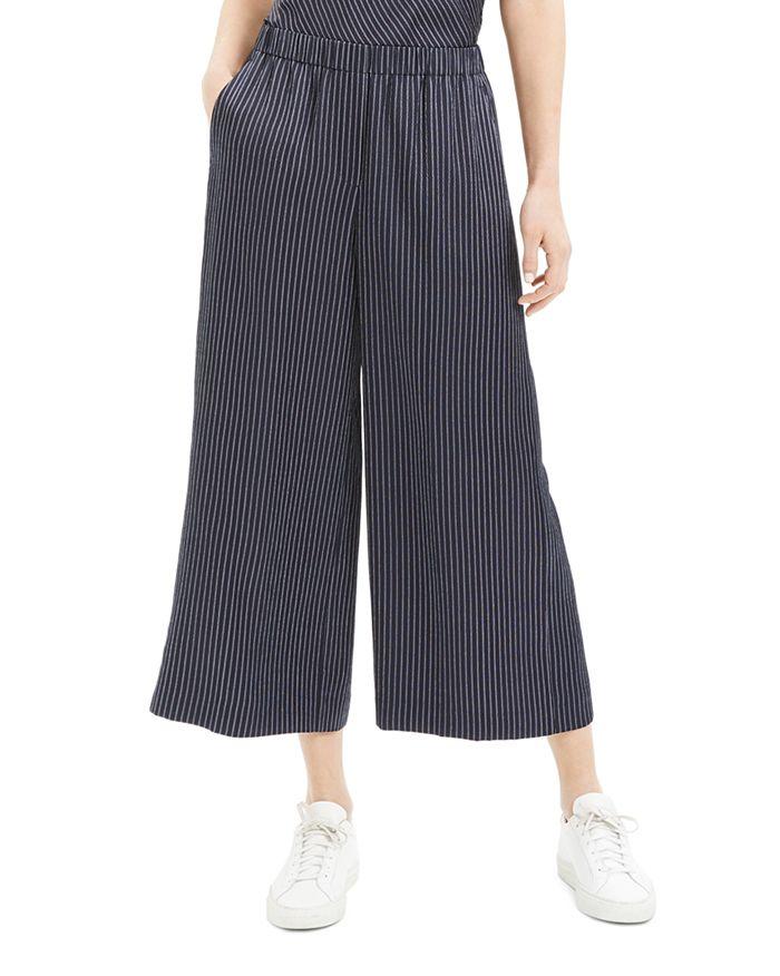 Theory - Raoka Cropped Striped-Silk Pants