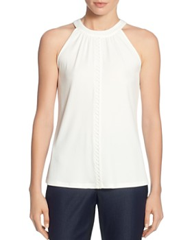 T Tahari - Sleeveless Tonal-Trim Top