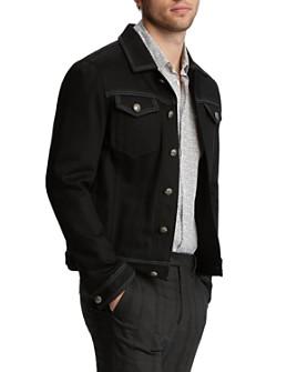 John Varvatos Collection - Leather & Satin-Trimmed Trucker Jacket