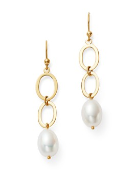 Bloomingdale's - Cultured Freshwater Pearl Double Link Drop Earrings in 14K Yellow Gold - 100% Exclusive