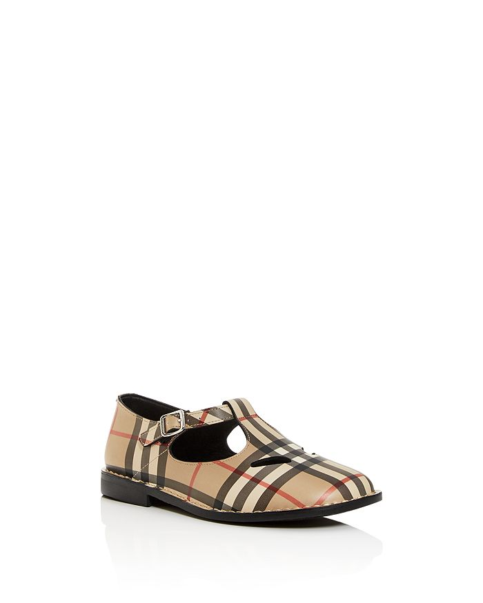 Burberry - Unisex Mini Kipling Vintage Check Leather Mary-Jane T-Strap Flats - Toddler, Little Kid