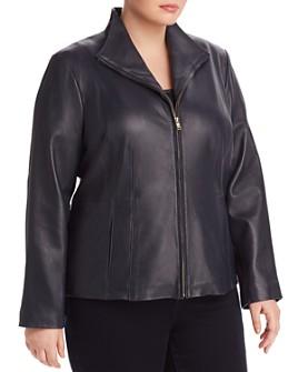 Cole Haan Plus - Leather Zip Jacket