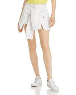 alexanderwang.t - Layered-Look Denim Skirt in Carpenter White