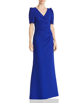 Adrianna Papell - Puff-Sleeve Wrap-Style Gown