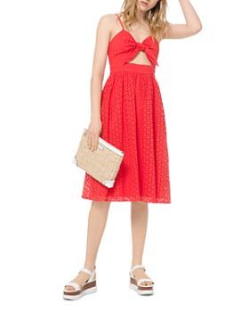 MICHAEL Michael Kors - Floral Eyelet Tie-Detal Midi Dress
