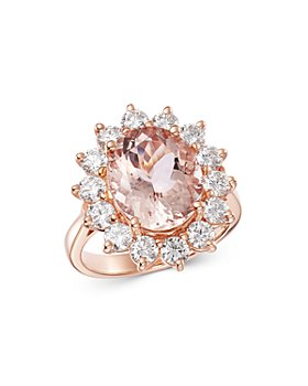 Bloomingdale's - Oval Morganite & Diamond Classic Ring in 14K Rose Gold - 100% Exclusive