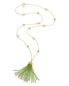 "Gumuchian - 18K Yellow Gold Tiny Hearts Diamond & Peridot Pendant Necklace, 28"""