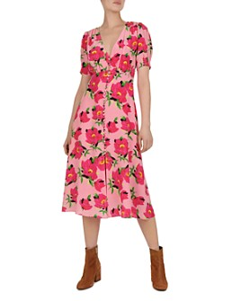 The Kooples - Floral-Print Silk Midi Dress