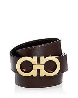 Salvatore Ferragamo - Men's Smooth Reversible Belt with Shiny Goldtone Double Gancini Buckle