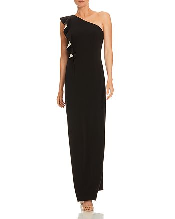 HALSTON - Ruffled One-Shoulder Gown