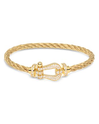 Fred - Fred 18K Yellow Gold Force 10 Diamond Large Buckle & Cable Options