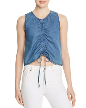 3x1 - Corin Ruched Drawstring Chambray Top