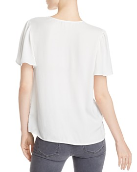 PAIGE - Kelly Flutter-Sleeve Button-Front Top