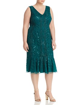 7c40b5ae9572 Adrianna Papell Plus - Beaded Flounce-Hem Dress ...