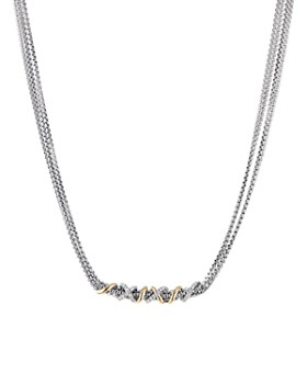 David Yurman - Sterling Silver & 18K Yellow Gold Helena Collar Necklace with Diamonds, 18""