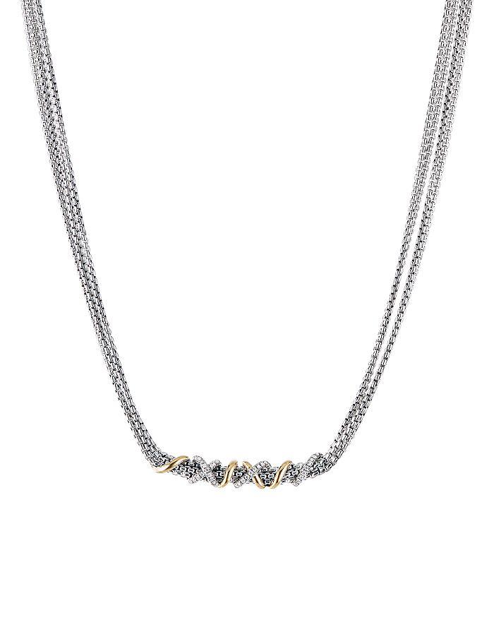 "David Yurman - Sterling Silver & 18K Yellow Gold Helena Collar Necklace with Diamonds, 18"""