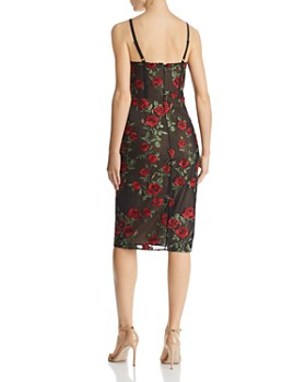 BCBGMAXAZRIA - Embroidered Rose Sheath Dress
