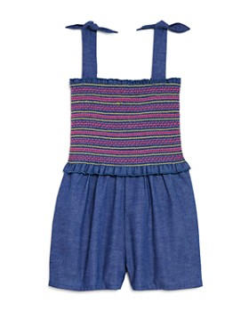 Design History - Girls' Smocked Chambray Romper - Little Kid