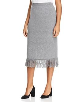 Marina Rinaldi - Galateo Fringed Knit Midi Skirt