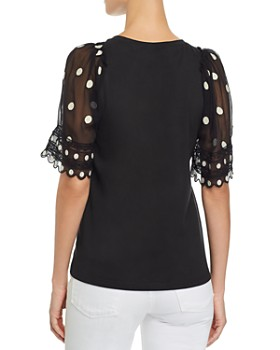 Rebecca Taylor - Embroidered Contrast Polka-Dot Top