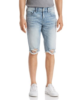 True Religion - Ricky No Flap Slim Fit Cutoff Denim Shorts