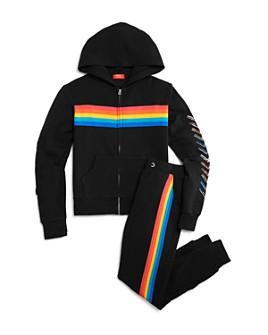 Butter - Girls' Rainbow-Stripe Hoodie & Jogger Pants - Big Kid
