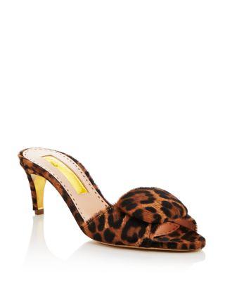 Gwynepy Leopard Print Kitten Heel Mules