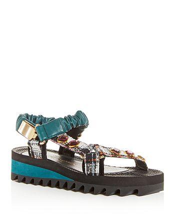 KURT GEIGER LONDON - Women's Orion Mixed-Media Platform Sandals