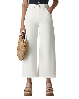 Whistles - Gabi High-Rise Cropped Wide-Leg Jeans in White