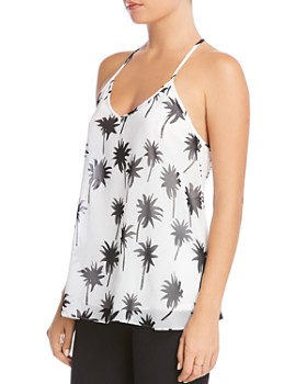 Bailey 44 - Tree Frog Palm Print T-Back Top