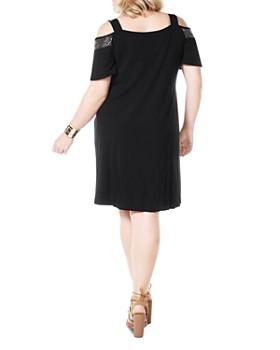 Belldini Plus - Embellished Cold-Shoulder Dress