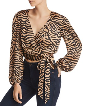 Bardot - Elena Zebra Print Wrap Top - 100% Exclusive
