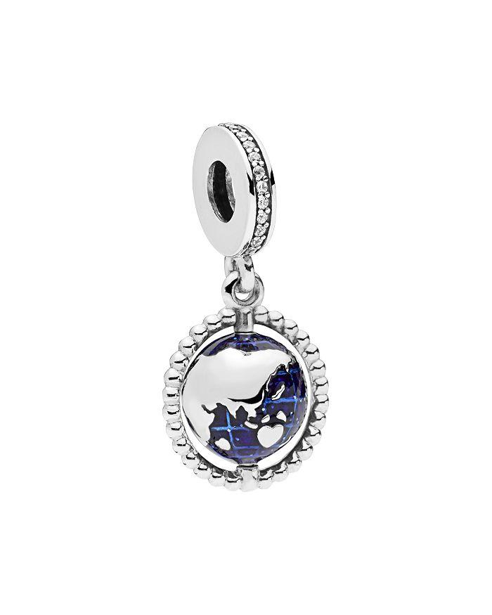 Pandora - Sterling Silver & Cubic Zirconia Spinning Globe Dangle Charm