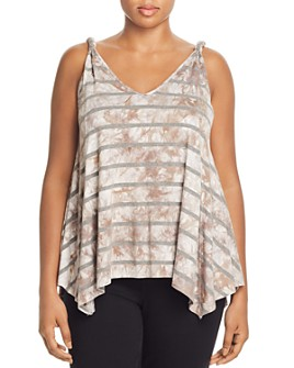 Seven7 Jeans Plus - Striped Tie-Dye Tank